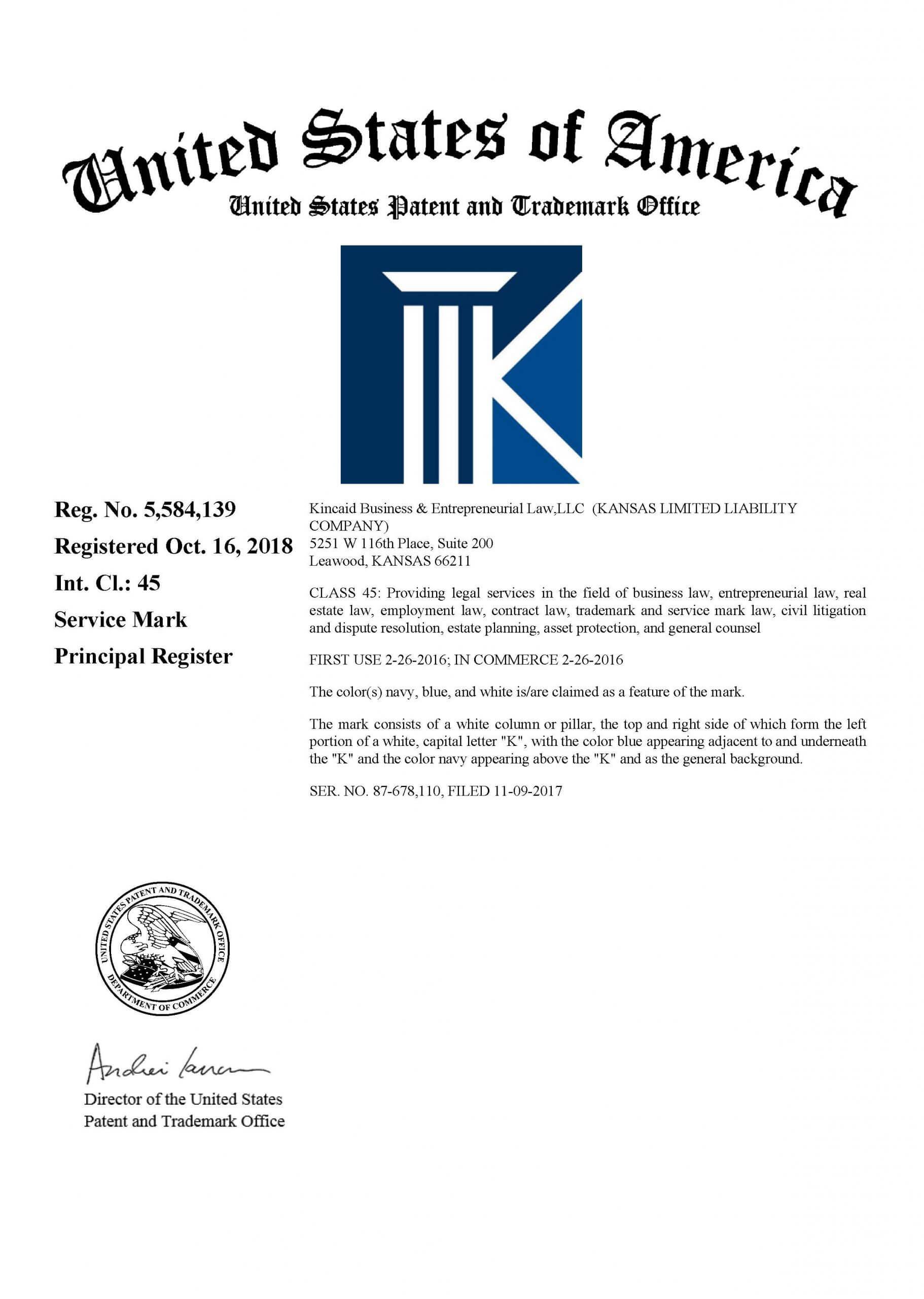 Business Logo or Design Shown on Federal Trademark Registration Certificate