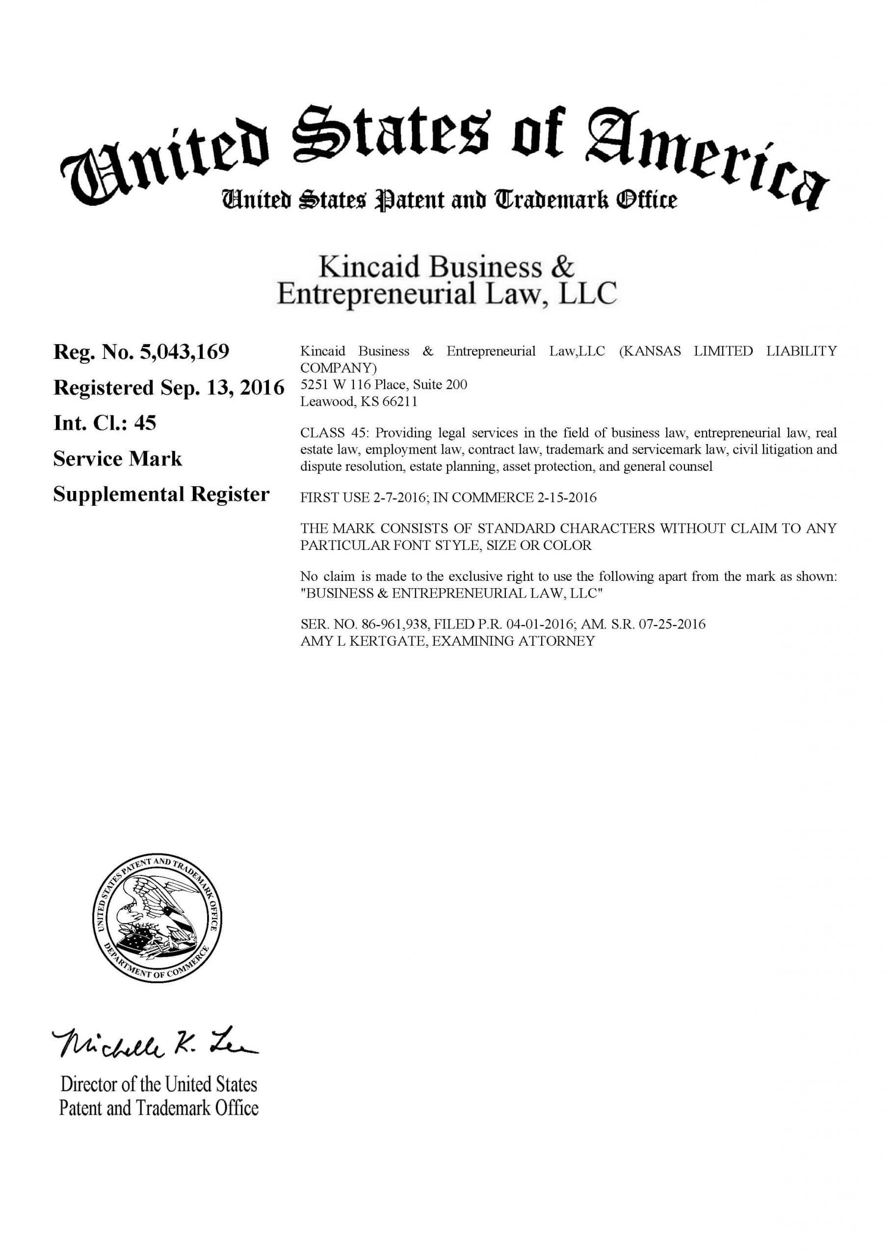 Trademark Registration Certificate With USPTO
